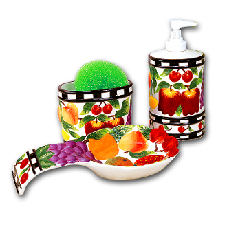 New Fruit Ceramic Soap Dispenser, Spoonrest, Pad Holder