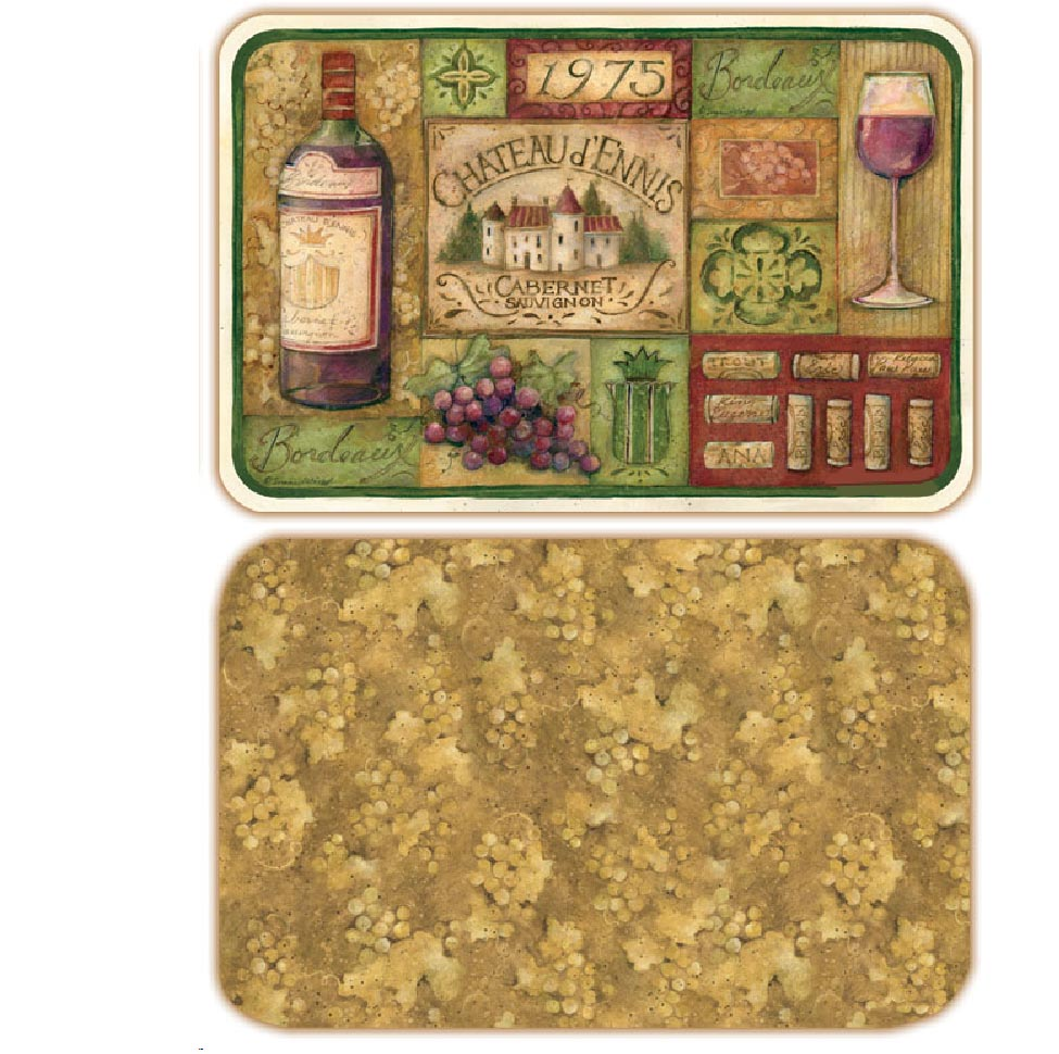 Grand Vin Wine/Grape Plastic 4 Placemats Left CLEARANCE!!