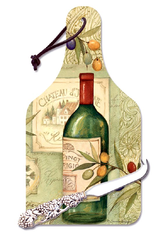Bottle Shaped Large Cheese Cuttingboard Wine and Olives