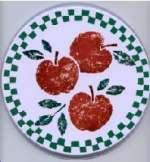 `3 Apples- Round Metal Burner Covers