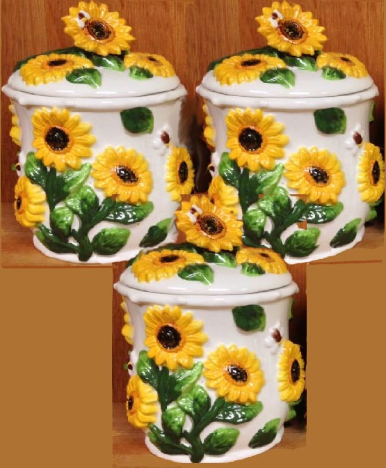 3 Airtight 3-D Bee and Sunflower Ceramic Canister Jars