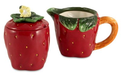 * Strawberry Ceramic 3pc sugar creamer set