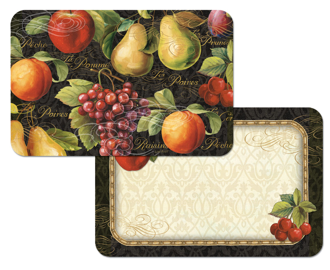 4 Gourmet Fruit Grape,Apple,Pear on Black Placemats