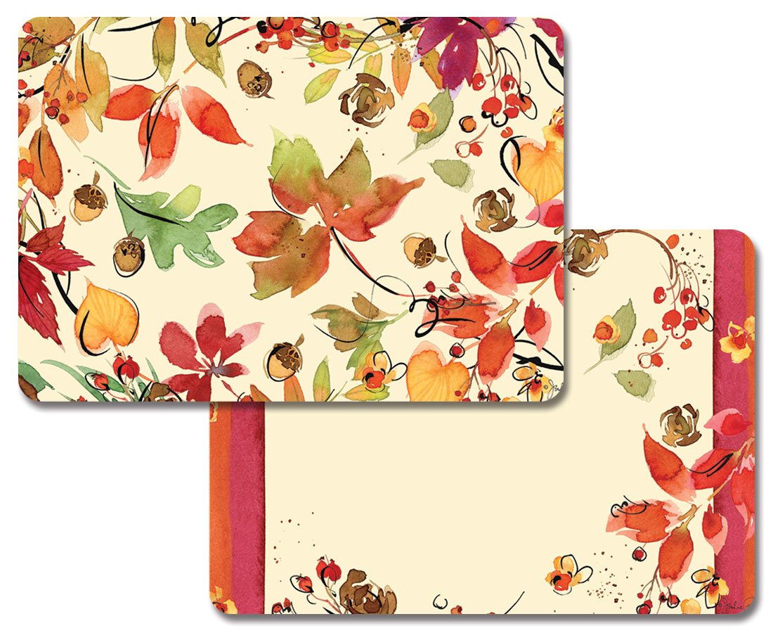 4 Vinyl Plastic Placemats Autumn Leaves Fruitful Harvest