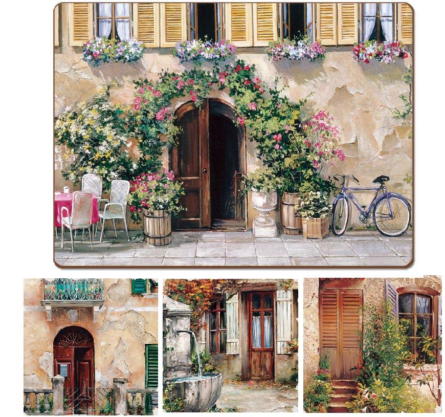 * 4 Cork-Back Hardboard Placemats Tuscan Doorways & 4 Cork-Back Hardboard Placemats Tuscan Doorways