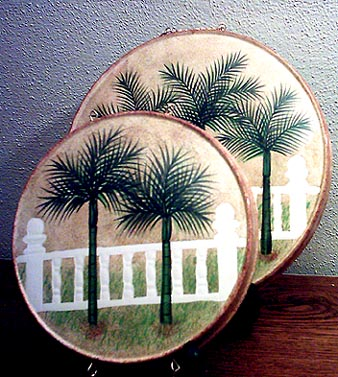 A Ceramic Burner Cover Set-Tropical Palm tree
