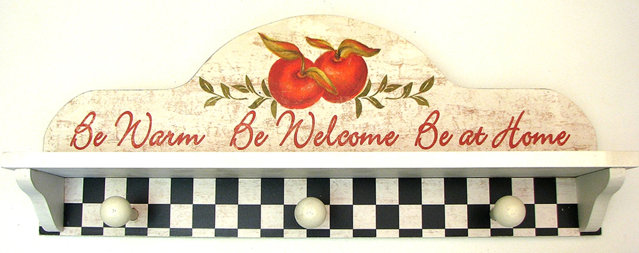 Apple Country Primative Shelf With Hooks