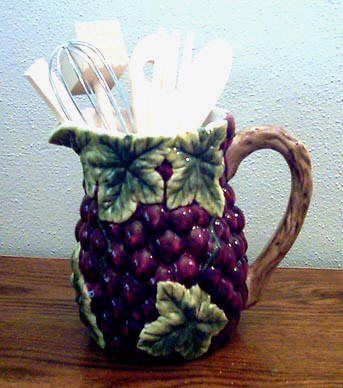 Ceramic Grape Cluster Pitcher Utensil Holder