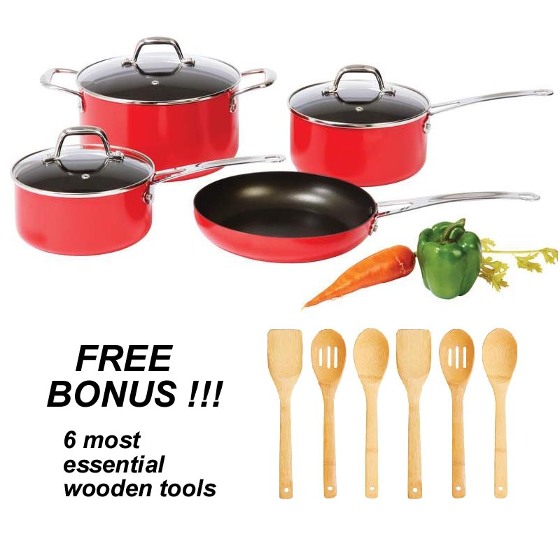 . Apple Red 13pc Non-stick Cookware Set