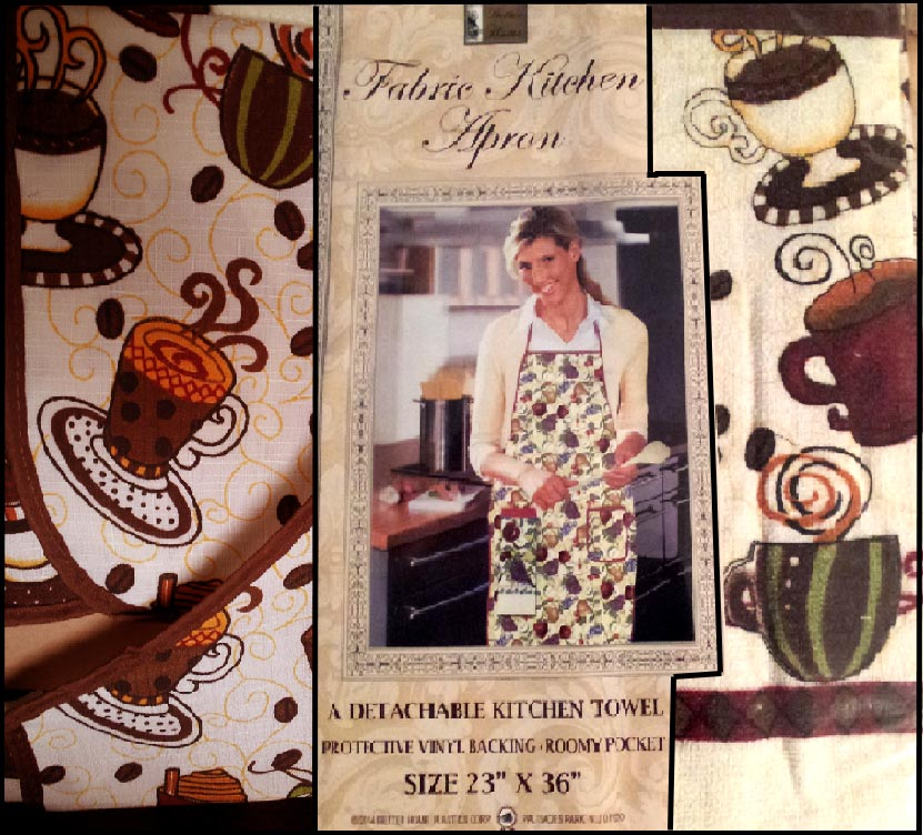 * Craft or Kitchen Apron & Cotton Towel - Coffee