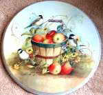 Apple Basket & Chickadee Bird Round Burner Covers