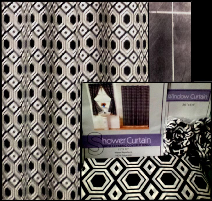 Black & White Retro Shower & Window Curtain Set