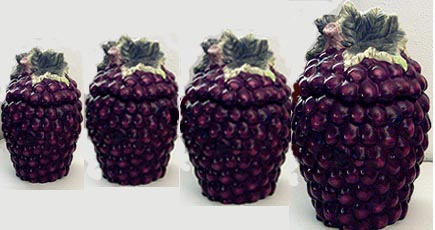* 4 Ceramic Canisters Grape Cluster