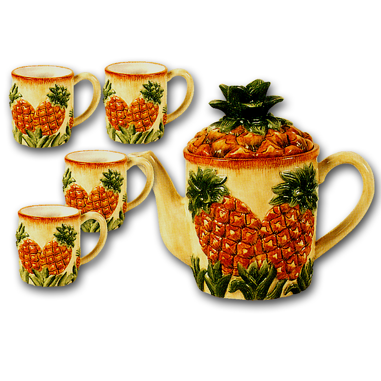 ~ Tropical Pineapple Teaset Ceramic Teapot & Mugs