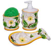 Ceramic Magnolia Spoonrest, Soap Pump,Scrubber-holder 4pc