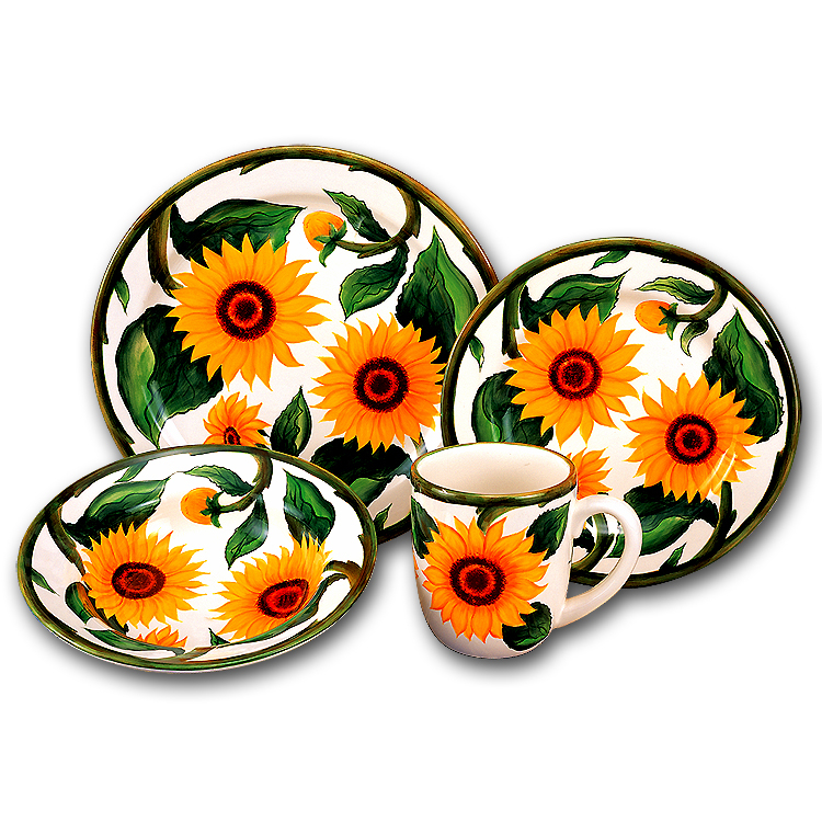 16 pc Ceramic Sunflower Dinnerware for 4-Plates & Mugs