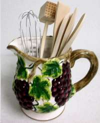 Ceramic Grapevine Pitcher Utensil Holder