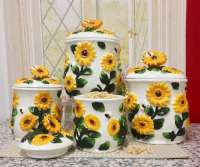 4 Airtight 3-D Bee and Sunflower Ceramic Canisters