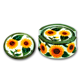 ~ Ceramic Sunflower 4-Coaster Set & Holder