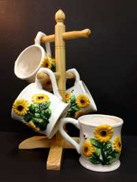 Bee & Sunflower Ceramic Coffee Mugs & Tree