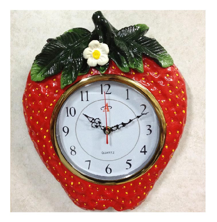 ceramic wallclock strawberry - Strawberry Kitchen Decoration