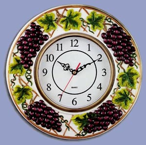 Ceramic Wallclock - Grape Vine Decor Theme