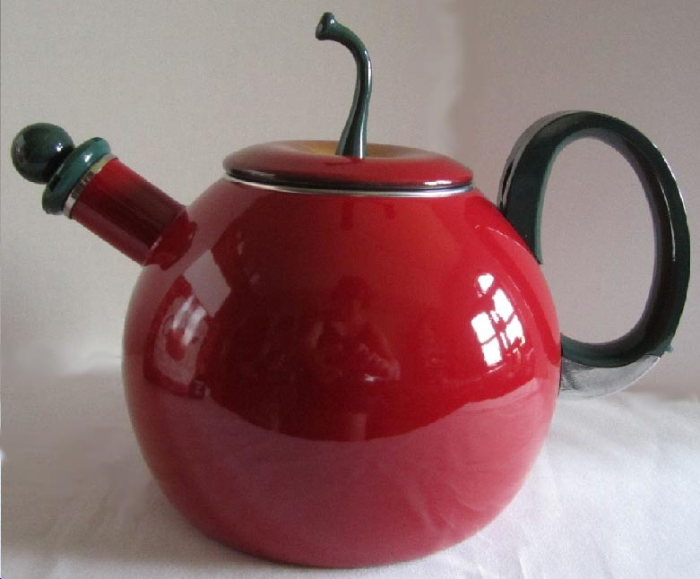 A Copco Brand Red Apple Whistling Teakettle / Teapot