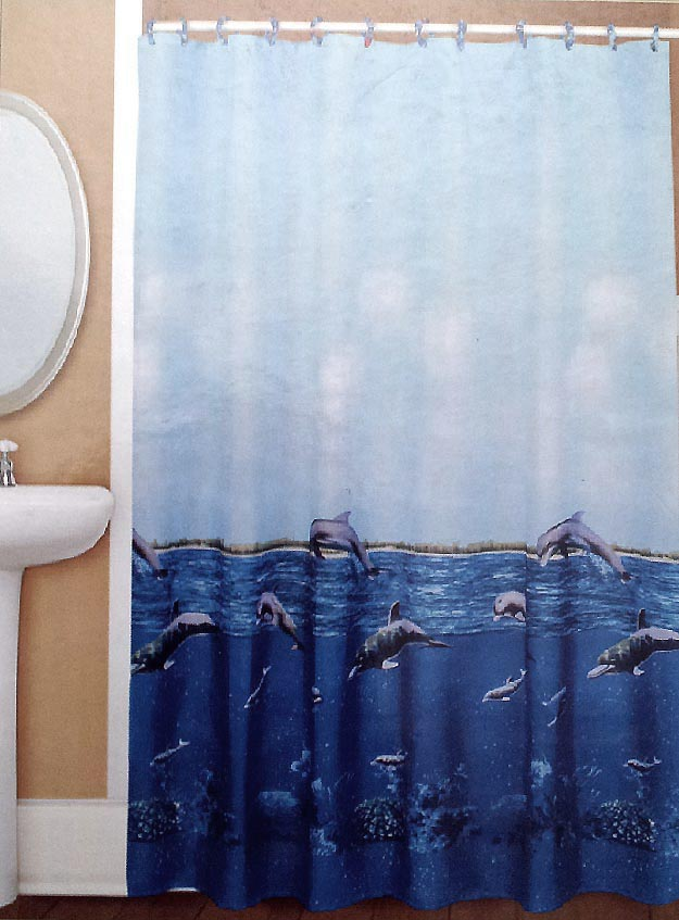 Coastal/Beach Dolphins - Blue Water Repellent Shower Curtain