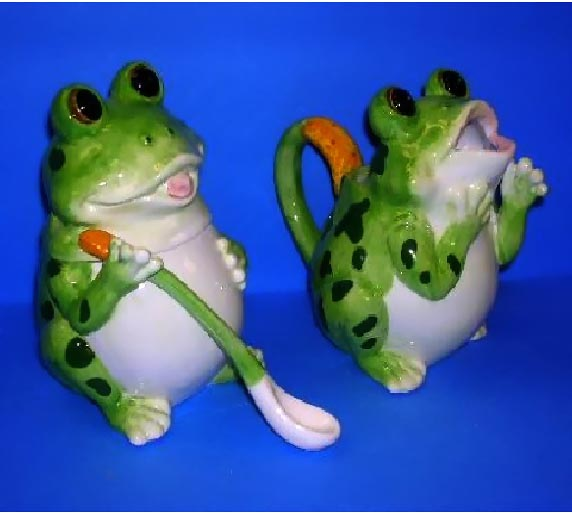 3D Frog Ceramic Sugar Bowl and Creamer