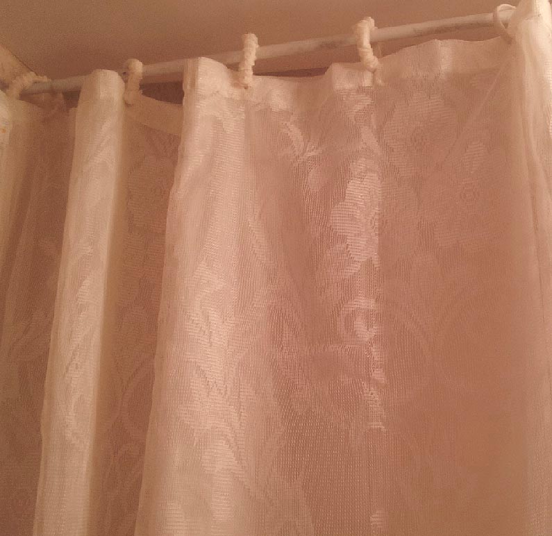 Floral Peach Polyester Washble Lace Shower Curtain