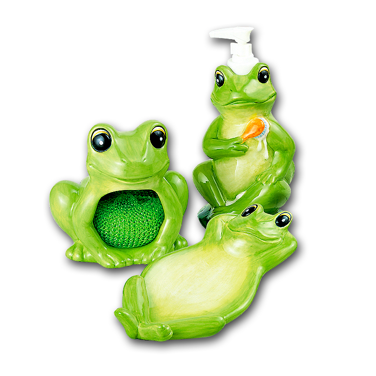 A Frog Spoonrest,Soap Pump,Holder