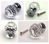 Large Set Of 2 Rounded Crystal Glass Drawer Pull Clear