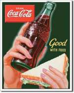 TIN SIGN COKE - Good with Food