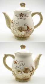 A Beach/Coastal Ceramic Seashell Teapot -