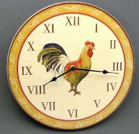 Wood Rooster Wall Clock