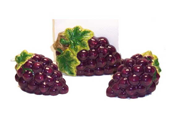 * A Grape Cluster Ceramic Napkin Holder Shaker Set
