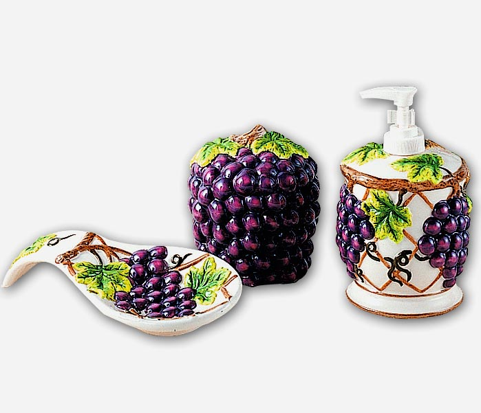 A Grapevine Ceramic Pump/Dispenser, Spoonrest, Pad Holder