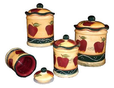 Country apple vintage style heavy kitchen canisters for Apple kitchen decoration set