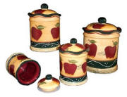 Country Apple Vintage Style Heavy Kitchen Canisters