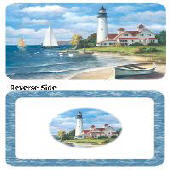 A Coastal/Beach- Lighthouse Mural-Vinyl-Plastic Placemat
