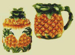~Ceramic Pineapple Tropical sugar creamer set~