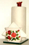 ~ Paper Towel/Napkin Holder w/Spoon Rest - Rose CLEARANCE!!!
