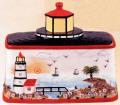 A Lighthouse Nautical Coastal Beach Bread Box/Cookie Jar