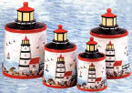 A Lighthouse Nautical Coastal Beach Kitchen Canister Set