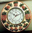 ~ Ceramic Pineapple Tropical Round Wallclock