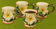 Floral Magnolia Ceramic Coffee Mugs