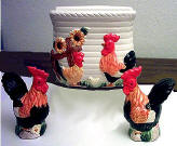 Country Rooster Ceramic napkin set