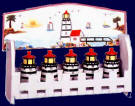 A Lighthouse Nautical Coastal Beach Ceramic 6pc spice rack