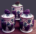 *Airtight Grapevine 3pc Ceramic Storage Jar /Kitchen Canisters