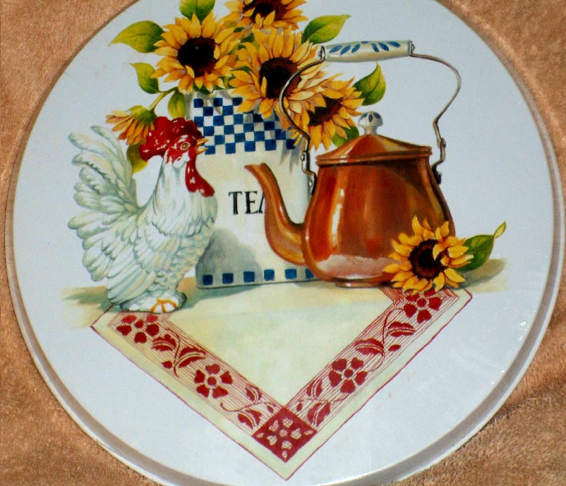`Country Rooster Sunflower Round Burner Cover